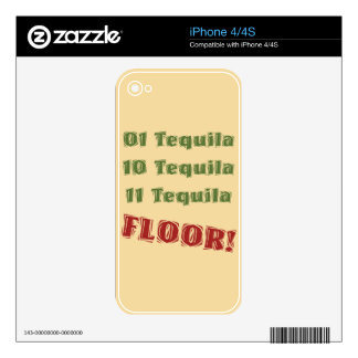 Funny Geek Nerdy Binary Tequila Drinking Spoof Decals For The iPhone 4