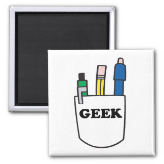 Funny GEEK Pocket Protector 2 Inch Square Magnet