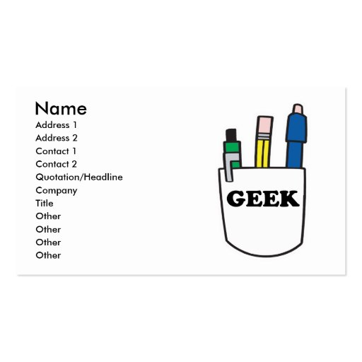 Funny GEEK Pocket Protector Business Cards