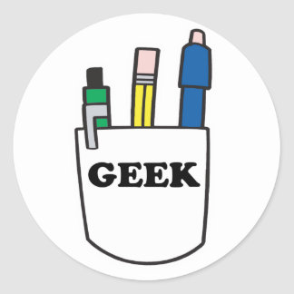 Funny GEEK Pocket Protector Classic Round Sticker