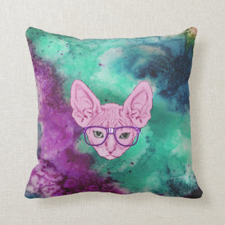 Funny Geeky Cat on Watercolor Backgroun Throw Pillow