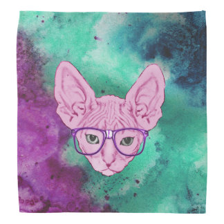 Funny Geeky Cat on Watercolor Background Bandana