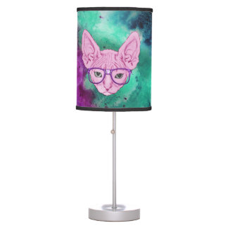 Funny Geeky Cat on Watercolor Background Table Lamp