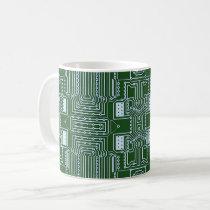 Funny Geeky Nerd Computer Circuit Board Pattern Coffee Mug