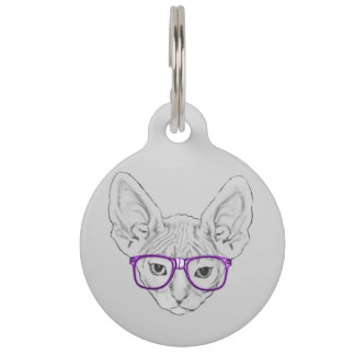 Funny Geeky Nerdy Sphynx with Taped Glasses Pet ID Tag
