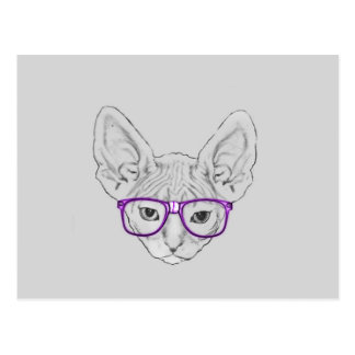 Funny Geeky Nerdy Sphynx with Taped Glasses Postcard
