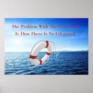 Funny Gene Pool Lifeguard Poster