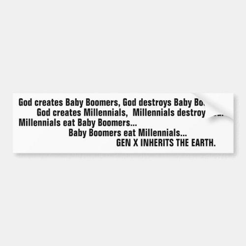 Funny Generation X Baby Boomer Millennial Joke Bumper Sticker