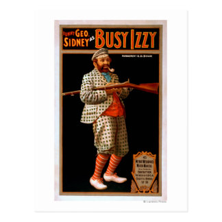 Funny Geo. Sidney as Busy Izzy Theatre Poster Postcard