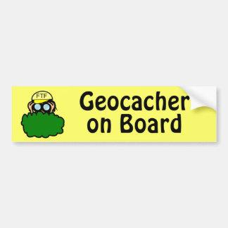 Funny Geocacher on Board Geocaching Bumper Sticker