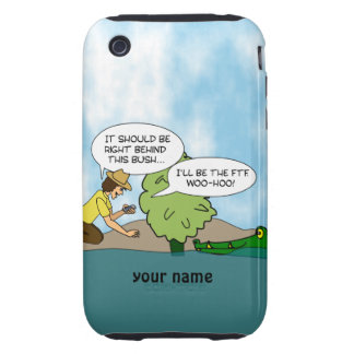 Funny Geocaching Cartoon Personalized iphone Case Tough iPhone 3 Case