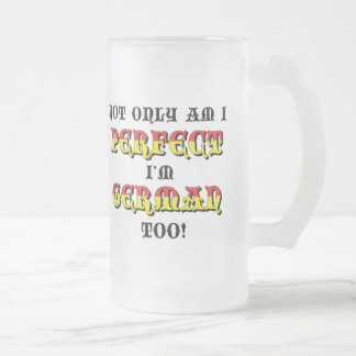Funny German Frosted Glass Beer Mug