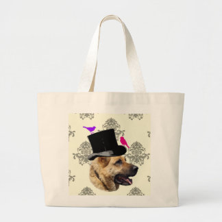 Funny German shepherd dog Large Tote Bag