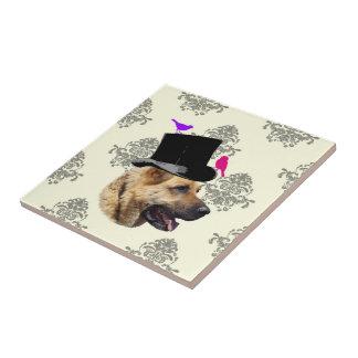 Funny German shepherd dog Small Square Tile