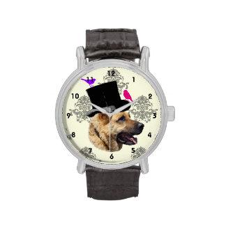 Funny German shepherd dog Wristwatches