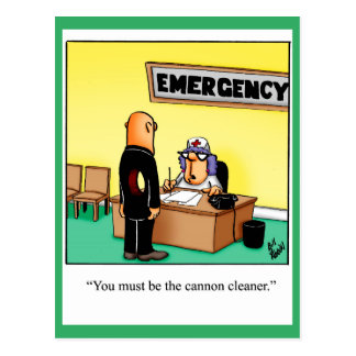 "Funny Get Well Postcard ""Cannon Cleaner"""