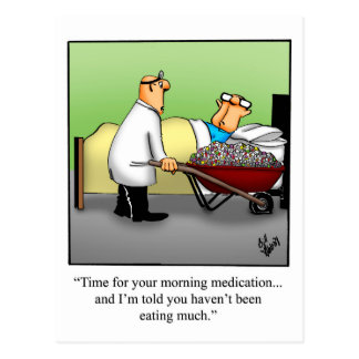 "Funny Get Well Postcard ""Morning Medication"""