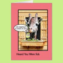 Funny Get Well Soon Giraffe Through Window Card