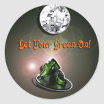 Funny Get Your Green On Classic Round Sticker