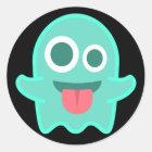 Funny Ghost Emoji Classic Round Sticker