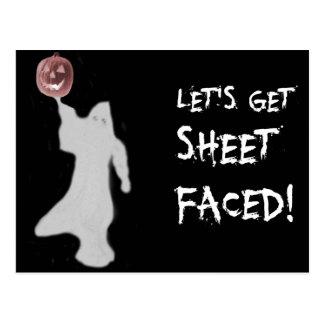 Funny Ghost Jack O Lantern Halloween Postcard