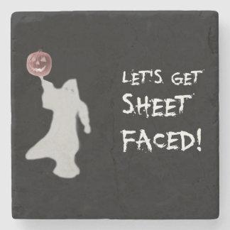 Funny Ghost Jack O Lantern Halloween Stone Coaster