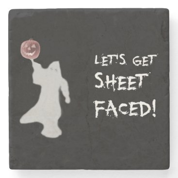 Halloween Themed Funny Ghost Jack O Lantern Halloween Stone Coaster