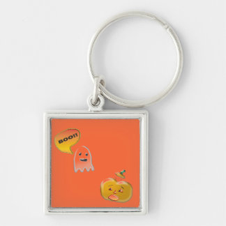Funny Ghost Scaring Jack-O-Lantern Silver-Colored Square Keychain
