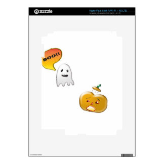 Funny Ghost Scaring Jack-O-Lantern Decals For iPad 3