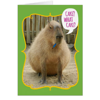Funny Giant Cake-Eating Capybara Birthday Card