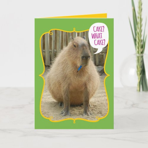 Funny Giant Cake_Eating Guinea Pig Birthday Card