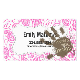 Funny Gift for Mom; Pink Paisley Business Card
