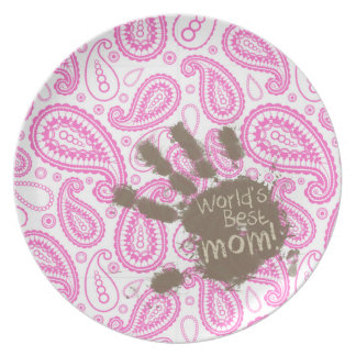 Funny Gift for Mom Pink Paisley Party Plates