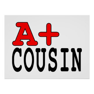 Funny Gifts for Cousins : A+ Cousin Poster