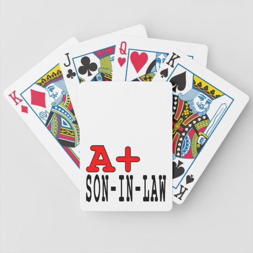 Funny Gifts for Sons in Law : A+ Son in Law Poker Cards