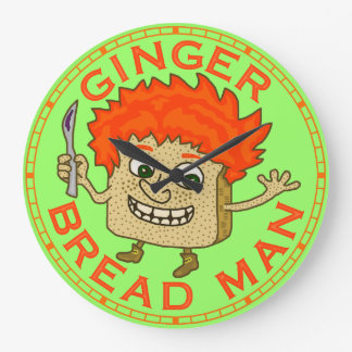 Funny Ginger Bread Man Christmas Pun Large Clock