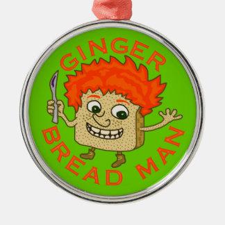 Funny Ginger Bread Man Christmas Pun Round Metal Christmas Ornament