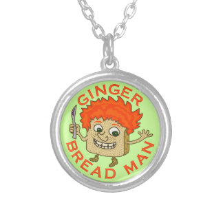 Funny Ginger Bread Man Christmas Pun Silver Plated Necklace