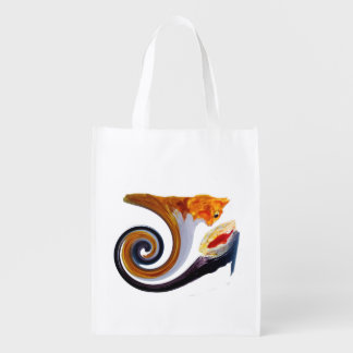Funny Ginger Cat Goldfish abstract musical art Reusable Grocery Bags