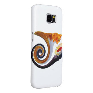 Funny Ginger Cat Goldfish abstract musical art Samsung Galaxy S6 Case