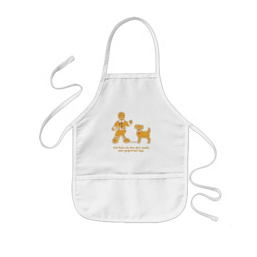 Funny Gingerbread Man and Dog for Christmas Aprons