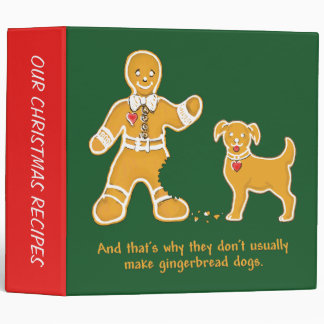 Funny Gingerbread Man and Dog for Christmas Vinyl Binder