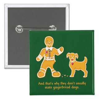 Funny Gingerbread Man and Dog for Christmas 2 Inch Square Button