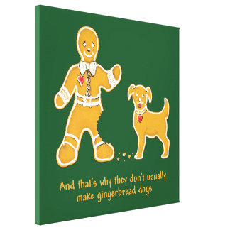 Funny Gingerbread Man and Dog for Christmas Canvas Print