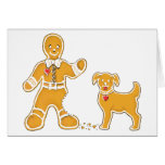 Funny Gingerbread Man and Dog for Christmas Greeting Cards
