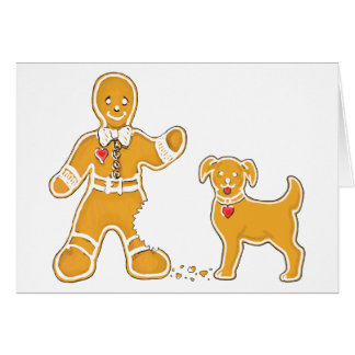 Funny Gingerbread Man and Dog for Christmas Greeting Card