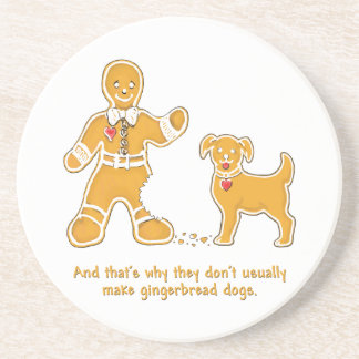 Funny Gingerbread Man and Dog for Christmas Drink Coaster