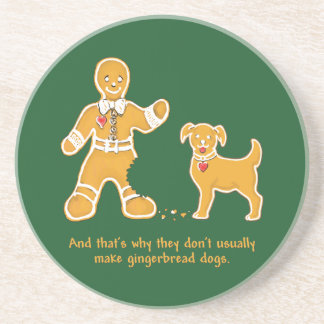 Funny Gingerbread Man and Dog for Christmas Beverage Coaster