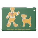 Funny Gingerbread Man and Dog for Christmas iPad Mini Covers