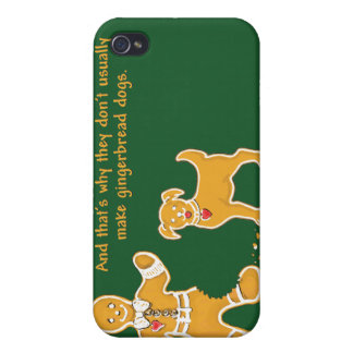 Funny Gingerbread Man and Dog for Christmas iPhone 4 Cover